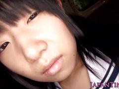 Petite Japanese schoolgirl swallows jizz
