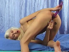 Skinny blonde masturbating