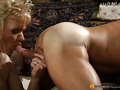 Blonde fucks with a man in tight anal