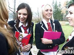 Brash schoolgirls in foursome lesbian act