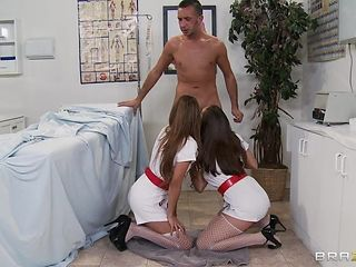 two hot nurses suck patient