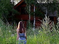 Online movie of juicy teen beauty with straight long hair posing naked in the countryside.