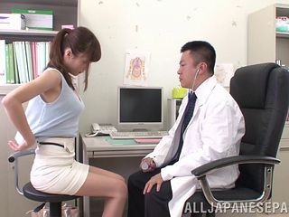Japanese doctor examines her tits and pussy and fucks the girl