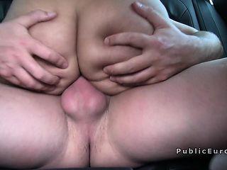 Big ass amateur babe bangs in public for money