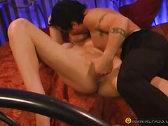 Gently inserts his penis in her bosom