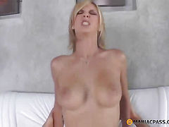 The blonde with pink pussy fuck with a guy