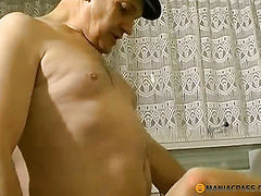 A woman in her hairy pussy fucked two guys