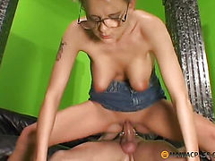 In her tender pussy his big cock