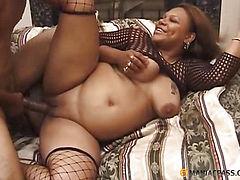 Fat woman in stockings fucking a guy