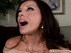 CFNM femdom Alana Evans stripping dude