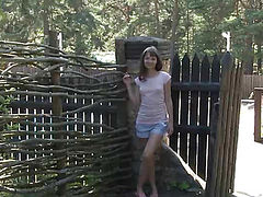 Beautiful dark haired teen demonstrating juicy shaved pussy in the woods on stream movie.