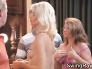 Bisexual blonde beauties fuck in XXX swingers reality show