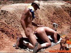Cumshooting barebacking latinos outdoors