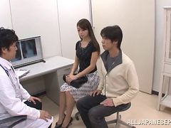 A pretty Japanese girl lets a doctor cum in her mouth