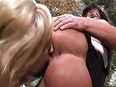 Blond babe Sarah Vandella playing and licking Lisa Ann's pussy.