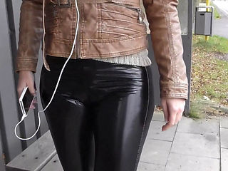 German Blonde Masturbating In Latex Leggings