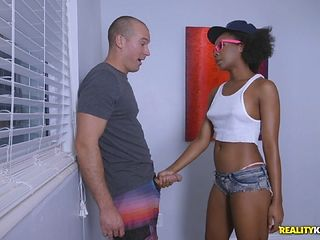 Black butt ebony screwed doggystyle in interracial porn