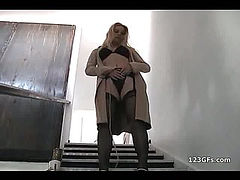Busty blonde girlfriend gives blowjob and gets fucked