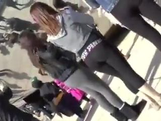 Candid college girl In Leggings