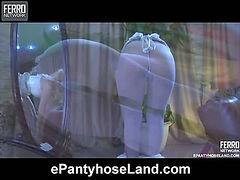 Gertrude modeling in pantyhose