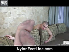 Colette&Nicholas nylon footfuck action