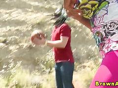 Black booty ebony babe gets ass cumshot