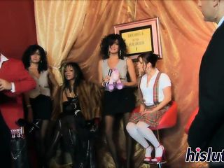 Raunchy orgy session with desirable vixens