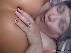The girl fondles her pussy mature woman