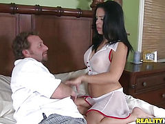 Dark Mexican nipples got hardness when I am fucking this milf