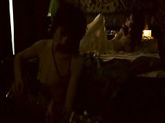 Natalia Avelon nude giving us a great look at her breasts and bush while dancing on a bed with a sheer red sheet all as a guy watches. Then Natalia Avelon nude having sex while riding a guy. From Eight Miles High.