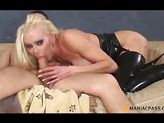 Blonde with big breasts fucking a guy