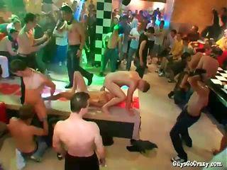 Guys get sweaty dancing and sucking cock in club
