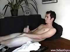 Straight solo twink masturbates and cums