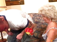 Blonde with hairy pussy fucked with a man