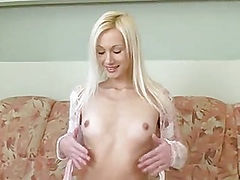 Tall Skinny Blonde Striptease Masturbation