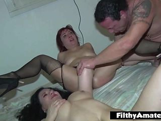 An arm in the ass for the milf! Extreme orgy!