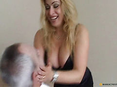 Girl with big breasts dresses men