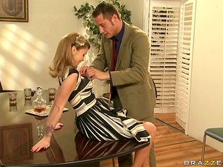hot blonde gets fucked for not wearing any panties