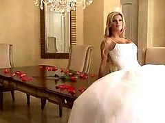 Bride in beautiful wedding dress spreading legs (Try something different  Free)