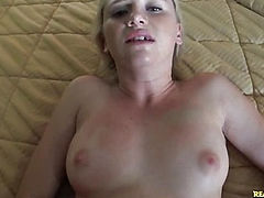 This little cute blonde is loving the cock.