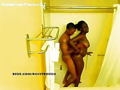 Ebony girl with big tits and ass getting fucked in shower - spy video