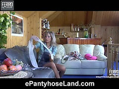 Nora wearing pantyhose on video