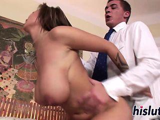Curvy brunette hottie Dominno gets fucked hard