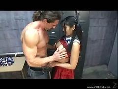 Asian cheerleader banged by stud in locker room