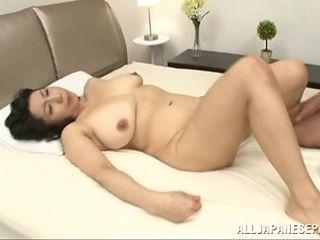 Chubby mature Japanese lady getting her hairy muff stuffed