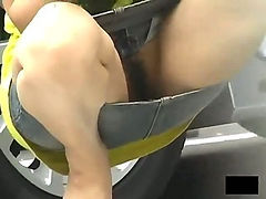 Upskirts of Asian girls outdoors