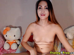 Cute Tranny Jerking her Cock