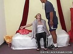 Cute Cheerleader Slurps Dick