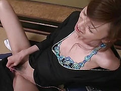 Kanon Hanai with two older horny guys is fed cock after cock