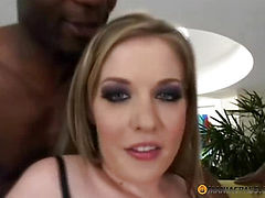 Girl is relaxing with two blacks